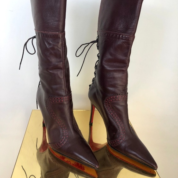 new style 9104b c9c04 Christian Louboutin Leather Pointed Toe Boots